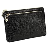 Women's Genuine Leather Coin Purse Zipper Pocket Size Pouch Change Wallet, Black