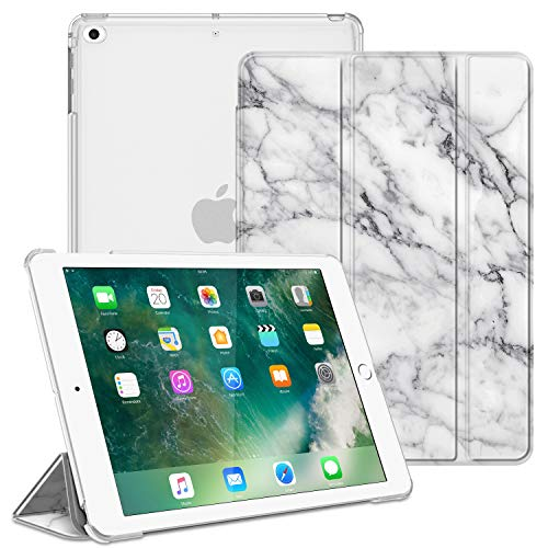 Fintie Funda Compatible con iPad 9.7 (2018/2017), iPad Air 2, iPad Air - Trasera Transparente Carcasa Ligera con Función de Soporte y Auto-Reposo/Activación, Mármol