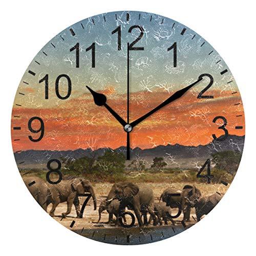 SENNSEE Wanduhr Elefant Afrika Tier Wanduhr Dekorative Wohnzimmer Schlafzimmer Küche batteriebetriebene runde Uhr Kunst für Home Decor Einzigartig