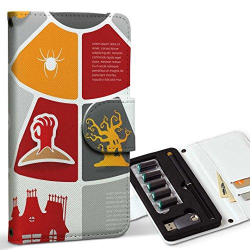 スマコレ ploom TECH プルームテック 専用 レザーケース 手帳型 タバコ ケース カバー 合皮 ケース カバー 収納 プルームケース デザイン 革 その他 ハロウィン イラス 006897