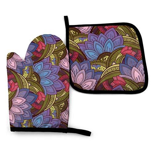 Juego de 2 manoplas de horno y soportes para ollas, diseño de flores étnicas, diseño de mosaico de rompecabezas, forro de algodón, guantes antideslizantes para barbacoa
