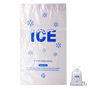 Belinlen 100 Pack 10 lb. Drawstring Ice Bags 12 x 21 Inch Heavy-Duty Plastic Ice Bags with Drawstring (2mil Thickness)