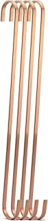 RuiLing 4-Pack 16 Inch Rose Gold Steel Hanging Flat Hooks - S Shaped Hook Heavy-Duty S Hooks,for Kitchenware,Utensils,Plants, Towels,Gardening Tools,Clothes