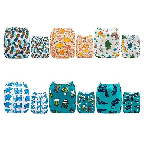 ALVA b/éb/é Nouveau Design r/éutilisable lavable poche Chiffon Lot de 6/couches Diaper 12/inserts Sets 6DM46 All in one