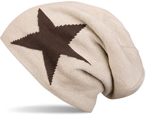 styleBREAKER warme Klassische Strick Beanie Mütze mit Stern und sehr weichem Innenfutter, Unisex 04024026, Farbe:Beige