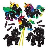Baker Ross Calamite scratch art con unicorni (confezione da 10) - Carta scratch art arcobaleno - Attività creative e da viaggio per bambini