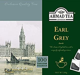 Ahmad Tea - Earl Grey | Schwarzteemischung mit Bergamotte | 100 Teebeutel á 2 g | Teebeutel ohne Band