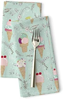 Roostery Ice Cream Linen Cotton Dinner Napkins Le PARC Sweetie (Choc/Mint) Floral Mint Brown Chocolate Icecream Candy Summer Treats Green by Nouveau Bohemian Set of 2 Dinner Napkins