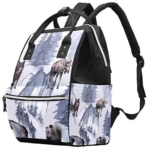 Grand sac à langer multifonction pour bébé, fond avec motif aigle, ourson élan et loup, sac à dos de voyage pour maman et papa