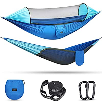 G4Free Large Camping Hammock with Mosquito Net Pop-up Parachute Lightweight Hanging Hammocks Tree Straps Swing Hammock Bed for Outdoor Backpacking Backyard Hiking(Blue/Light Blue)