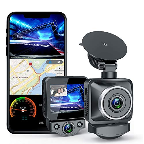 "ANKEWAY 2021 NEW Dual Dash Cam Built-in WiFi & GPS, Dual 1920x1080P Full HD Front & Cabin Dash Cam , 2.0"" LCD Screen, Super Night Vision, HDR, 175° Rotatable Cabin Camera, 360° Rotatable Suction Mount"