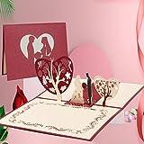 Tarjeta de Felicitación Pop Up 3D, Tarjeta de San Valentín con Sobre, Tarjeta de Felicitación de Boda e Invitación, regalo para el cumpleaños o el aniversario del amante (Casarse)