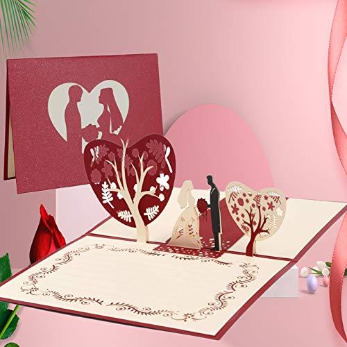 Biglietto di Auguri Pop-Up 3D Biglietto d'Auguri Matrimonio Nozze Anniversari Biglietto, per i parenti, Amici e amanti speciali, biglietto di auguri pop-up 3D con bella carta tagliata (sposare)