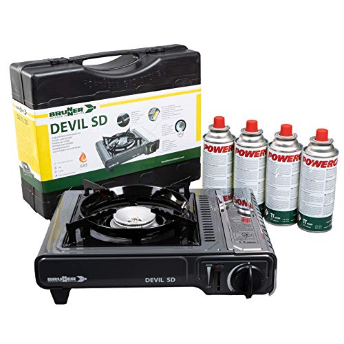 Devil SD Gaskocher SET inklusive Butan-Gaskartuschen | und mit Transportkoffer | einflammig | Idealer outdoor kocher | mit Zündsicherung | Gaszufuhr regulierbar (Gaskocher + 4 Kartuschen)