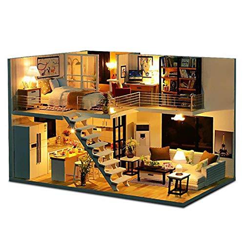 N-B Casa de muñecas DIY Casa de muñecas en Miniatura con Kit de Muebles Casa de Madera Juguetes en Miniatura para niños Año Nuevo