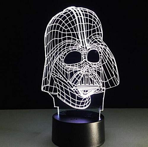 JJIEZZ Luz de Noche 3D 7 Colores Juguetes de iluminación de luz de Noche Multicolor 3D-Darth Vader 1_Cambio de 7 Colores