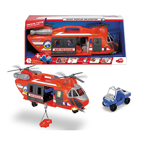Dickie Toys 203309000 - Giant Rescue Helicopter, großer Spielzeughelikopter inkl. Auto, mit Licht- und Soundfunktion, 56cm