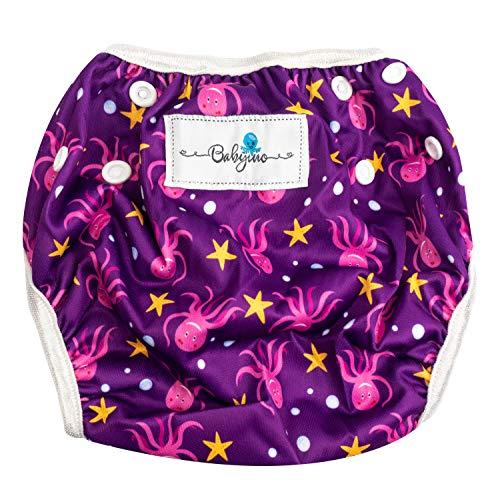 Babyino wiederverwendbare Schwimm-Windel | Bade-Hose für Babys und Kleinkinder (Lila Octopus) 6 bis 24 Monate Verstellbare Größe mitwachsende Schwimm-Kleidung