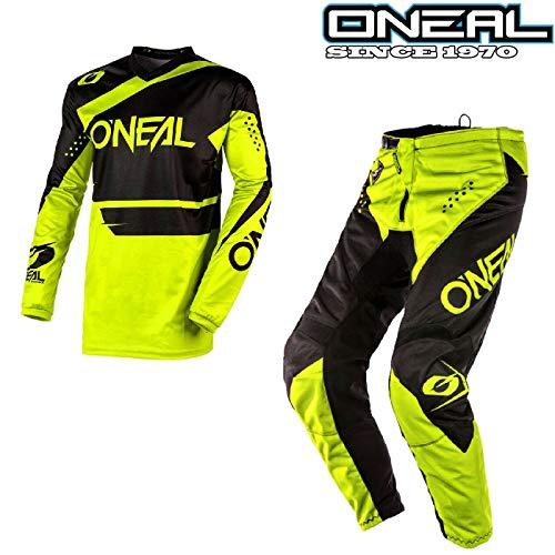 O'Neal Tuta Motocross Kit ELEMENT-2020 MX Jersey e Pantaloni Moto off-Road Enduro Quad Tute Sport Racewear Camicia e Pants Fuoristrada Cross Racing Suit, Neon Giallo (Top- L/42,Pantaloni-38)