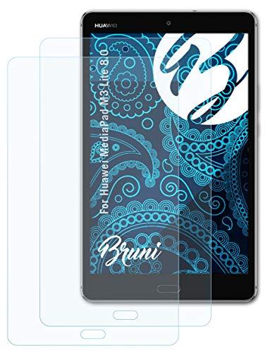 Bruni Schutzfolie kompatibel mit Huawei MediaPad M3 Lite 8.0 Folie, glasklare Bildschirmschutzfolie (2X)