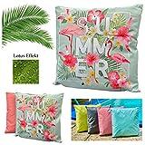 heimtexland ® Outdoorkissen Tropical Dekokissen Lotus Effekt Schmutz- und Wasserabweisend Garten...