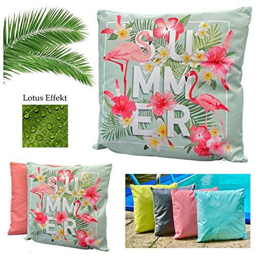 heimtexland ® Outdoorkissen Tropical Dekokissen Lotus Effekt Schmutz- und Wasserabweisend Garten Outdoor Kissen 45x45 Summer Flamingo Typ688