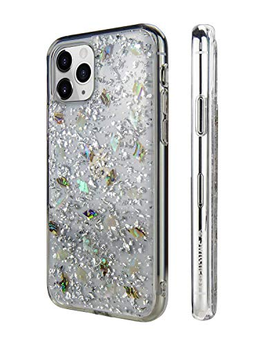 SWITCHEASY iPhone 11 Pro Case Flash Floral iPhone Hard Case Back Cover for Girls, Transparent Clear Flexible Rubber Pressed Real Genuine Dried Flowers and Seashell (Conch, 2019 iPhone 5.8')