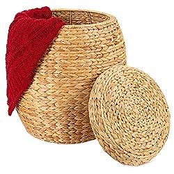 Seagrass Wicker Basket Organizer w/Lid