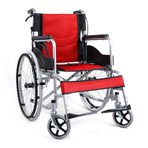 BYCDD Transportrollstühle, klappbare, tragbare Leichtgewichtiger Rollstühle mit Selbstantrieb Beinauflagen für zusätzlichen Komfort,Red