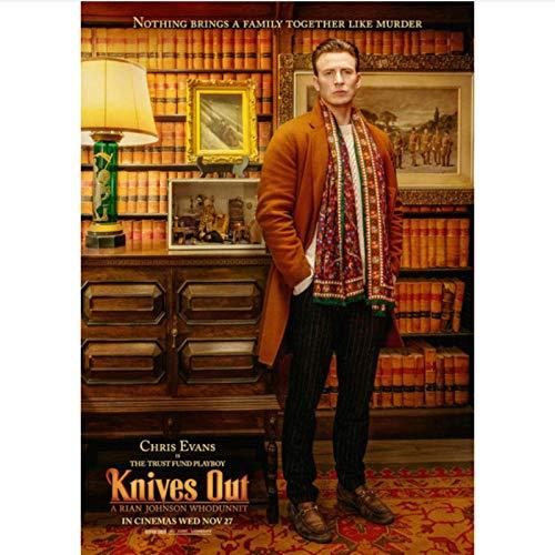 danyangshop Papierkarte Moive Knives Out Poster Chris Evans Daniel Craig Ana De Armas Michael Shannon Jamie Lee Wandaufkleber K-10 (50X90Cm) Ohne Rahmen