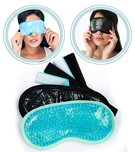Cool Gel Eye Mask 2pcs - Cooling Masks Fof Puffy Eyes - Ice Eye Masks For Swelling - Reusable Ice Face Mask Cold Pack - Frozen Eye Compress Mask - Cold Hot Face Eye Mask - Gel Cold Eye Beads Packs