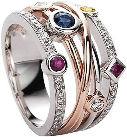 Silver Gemstone Ring Morganite Garnet Amethyst Peridot for Women Girl Purple Amethyst White product image