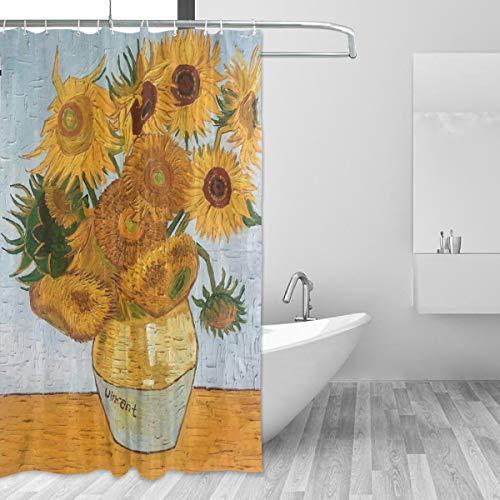 Ahomy Duschvorhang 152,4 x 182,9 cm, Van Gogh Sonnenblumen-Gardinen, schimmelresistent, wasserdicht, Blumenmuster, für Badedekorationen, mit 12 Kunststoffhaken