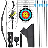 ASDW Archery Bow and Arrow Set Recurve Bow Both Side Available Arrow Rests 3 Class Takedown Bow CS Game Recurve Bow Set Long Bow Right and Left Hand Bow Competition Games Target Practice 25-35lbs