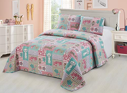 Better Home Style White Pink Turquoise Purple Cats Dogs with Hearts & Flowers Patchwork Design Kids/Girls/Teens 2 Piece Coverlet Bedspread Quilt Set with Pillowcase # Pets (Twin)