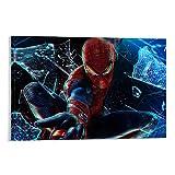 DRAGON VINES Poster décoratif sans cadre Motif The Amazing Spider-man Peter Parker Lance Spider Verre de soie brisé 60 x 90 cm