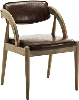 ヘンプロープアームレスト付きの木製ダイニングチェア快適な背もたれとキッチン用布張りパッド入りシート-ブラウンフェイクレザーアームチェアヴィンテージ