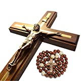 Handmade Crucifix Wall Cross - Wooden Catholic Hanging Crucifix for Home Decor - 12 Inch...