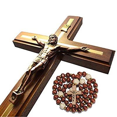Handmade Crucifix Wall Cross - Wooden Catholic Hanging Crucifix for Home Decor - 12 Inch -  - living-room-decor, living-room, home-decor - 514l5sI2UXL. SS400  -