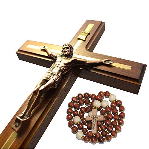 Handmade Crucifix Wall Cross - Wooden Catholic Hanging Crucifix for Home Decor - 12 Inch