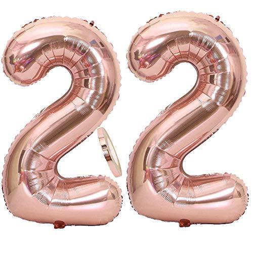 Feelairy Luftballons 22. Geburtstag XXL Rose Gold, 2 Stück Riesen Folienballon Zahl 22 mit Band Nummer Ballons 40