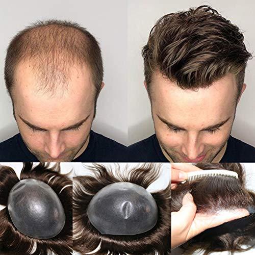 Rubyonly 0,06–0,08 mm dünnes Herren-Toupet aus Echthaar, natürlicher Haaransatz, unbehandeltes Haar, Ersatzsystem für Männer, natürlich, #1B, 8 x 10