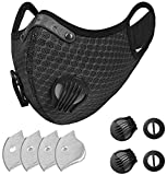 Reusable Face Mask with Filters – Adjustable for Men and Women – Ideal for Workout, Jogging, Cycling, Hiking, Construction (Black +4 Extra Activated Carbon Filters Included)