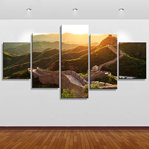 WMWSH Cuadro Impresión Lienzo Pintura, 5 Piezas Paisaje Paisaje De Amanecer De La Gran Muralla HD Pared Arte Pintura para Hogar Salón Oficina Mordern Decoración Regalo,Wall Art Modular Poster Mural