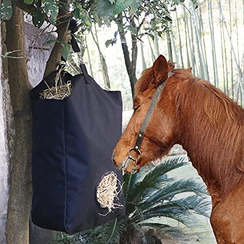 Bolsas de heno para caballos, bolsa de heno de alimentación lenta duradera de alta calidad, tela Oxford 600D, gran capacidad para colgar caballos, alimentador de paja seca para vacas, cabra, ovejas