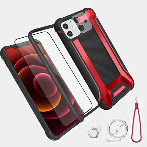 MEYIFEN Cover Compatibile con iPhone 12 mini 5,4'' 2020,robusta custodia antiurto di grado militare con airbag e telaio flessibile in TPU,Custodia per iPhone 12 mini 5,4'' - Rosso