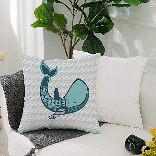 Washable Cushion Covers 20x20 Inch,Whale Decor,Happy Big Smiling Cartoon Huge Whale with Modern Ornamental Design Artwork,Blue,Square Decorative Throw Pillowcases for Livingroom Sofa Bedroom 50cmx50cm