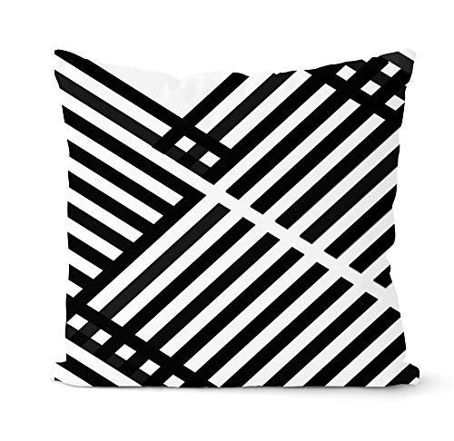 PPMP Funda de Almohada geométrica Gris y Negra, Almohada Decorativa, decoración de sofá para el hogar, Funda de Almohada, Funda de cojín A22, 45x45cm, 1pc