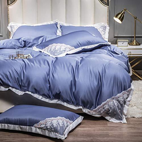 Juegos de Fundas nordicas para Cama 150,Ropa de cama de verano es un juego de seda de hielo de cuatro piezas de cuatro piezas de lavado de agua de doble cara, ropa de cama de seda-Esconder_1,5 m de c