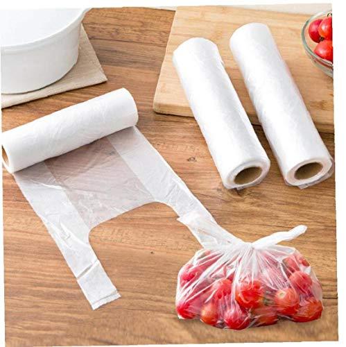 Zonfer 100pcs / Rollo 28 * 25 Cm Transparente Paquete Bolsas De Almacenamiento De Alimentos Congelados Bolsas Reciclable Compras De Operadores para Supermercado Compras Frigorífico